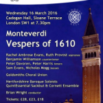 Goldsmiths Choral Union – Monteverdi Vespers of 1610